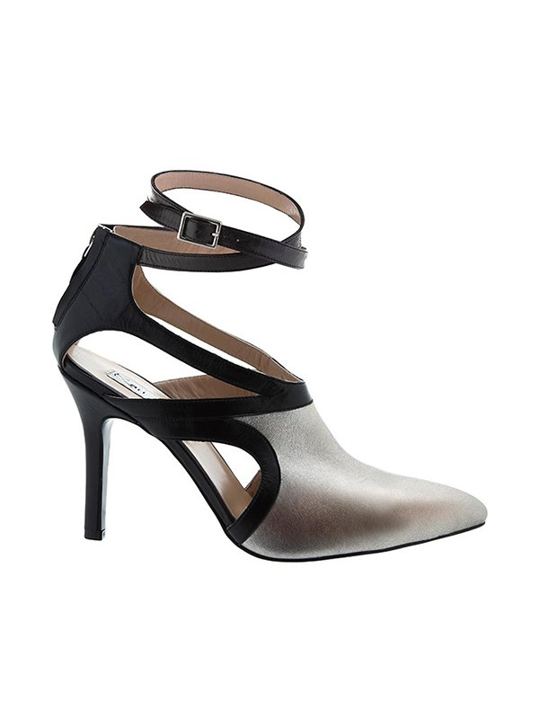 Kari C. Aria Silver Cut-Out Leather Boot