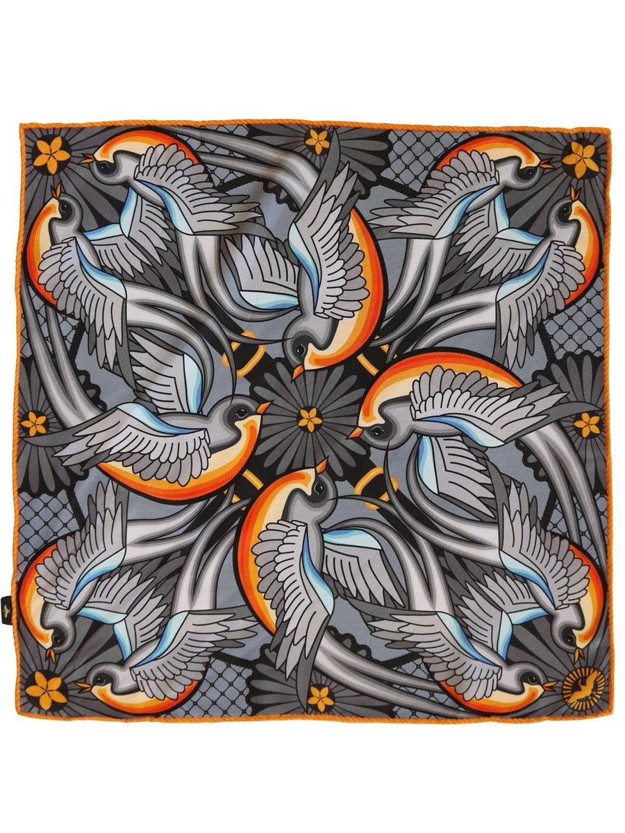 Furious Goose We are on a journey – Silk Pocket Square Silver