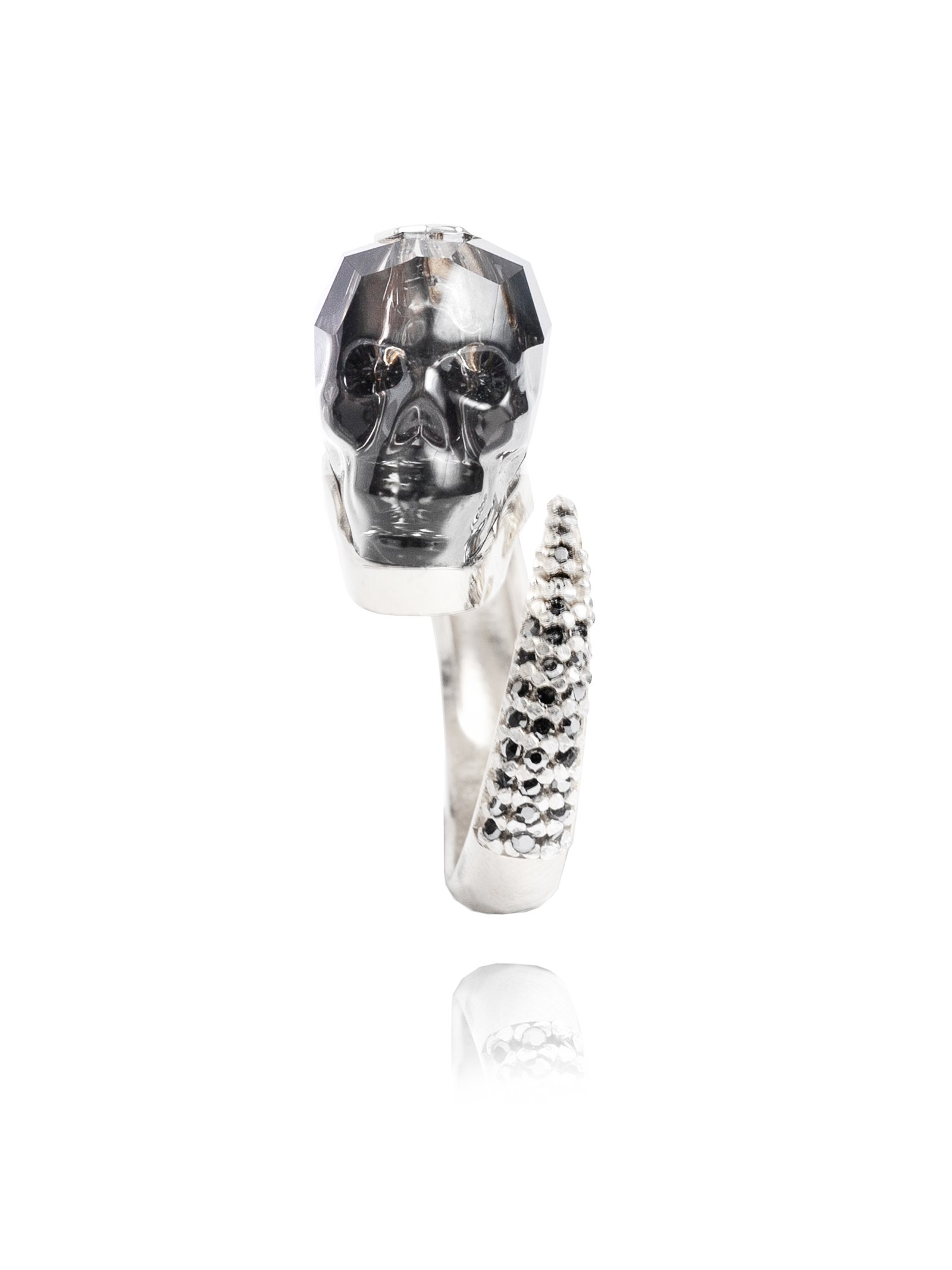 Ternary London DARK PARADISE SWAROVSKI SKULL & STERLING SILVER RING