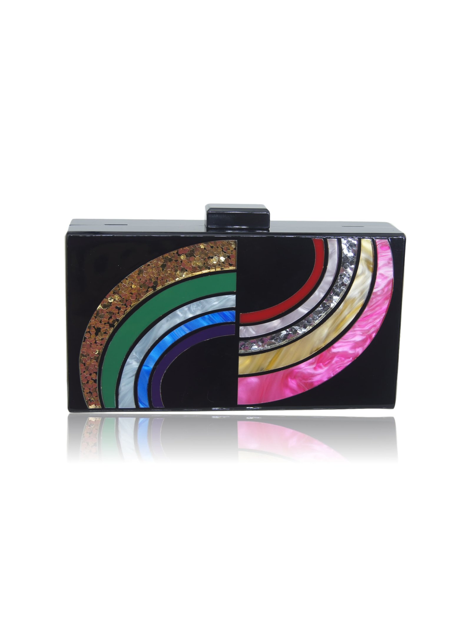 Milanblocks Milanblocks Black Rainbow Lucite Box Evening Clutch