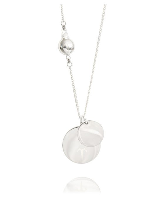 Ternary London DOUBLE COIN PENDANT LONG NECKLACE SILVER