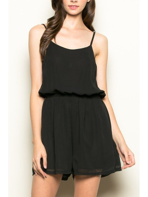 Arcade Attire Open Cross Back Romper - Black