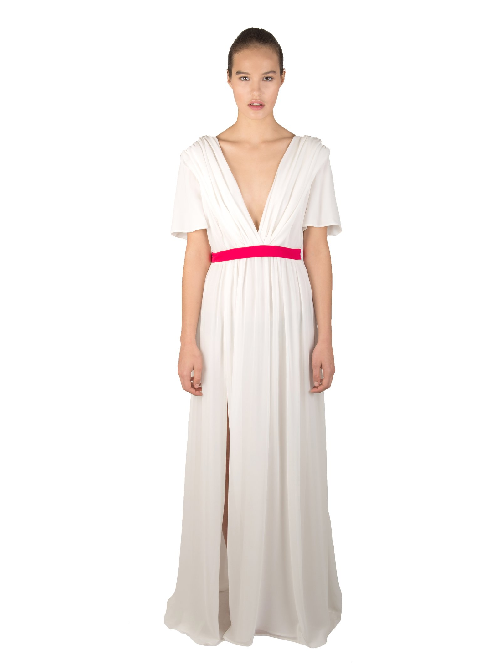 LIZA VETA Ivory Pleated Silk Georgette Floor Length Dress