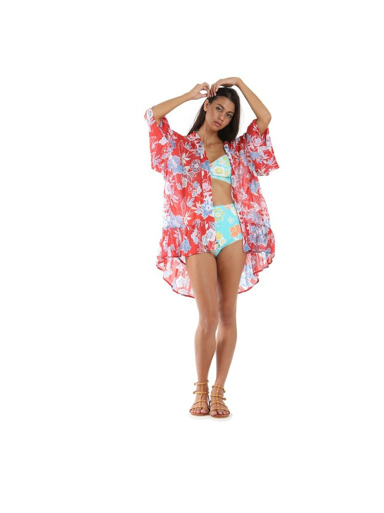 Tulle & Batiste Red Camelia Butterfly Frill Kimono