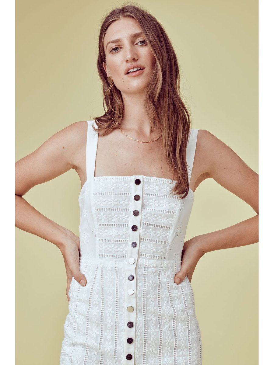 For Love & Lemons Hermosa Eyelet Snap Dress
