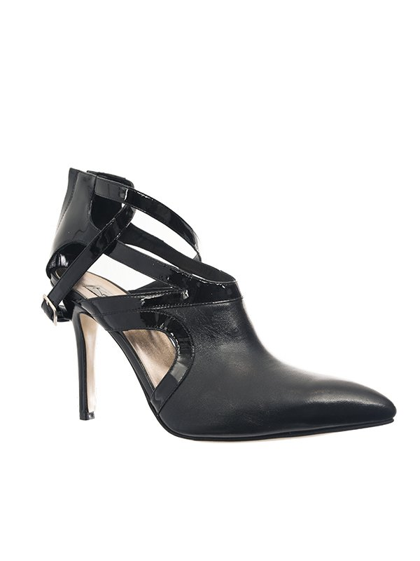 Kari C. Aria Black Cut-Out Leather Boot