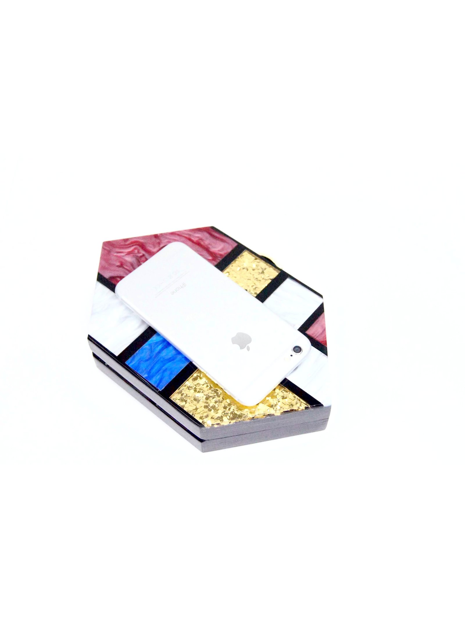 Milanblocks Black Acrylic Mondrian Clutch