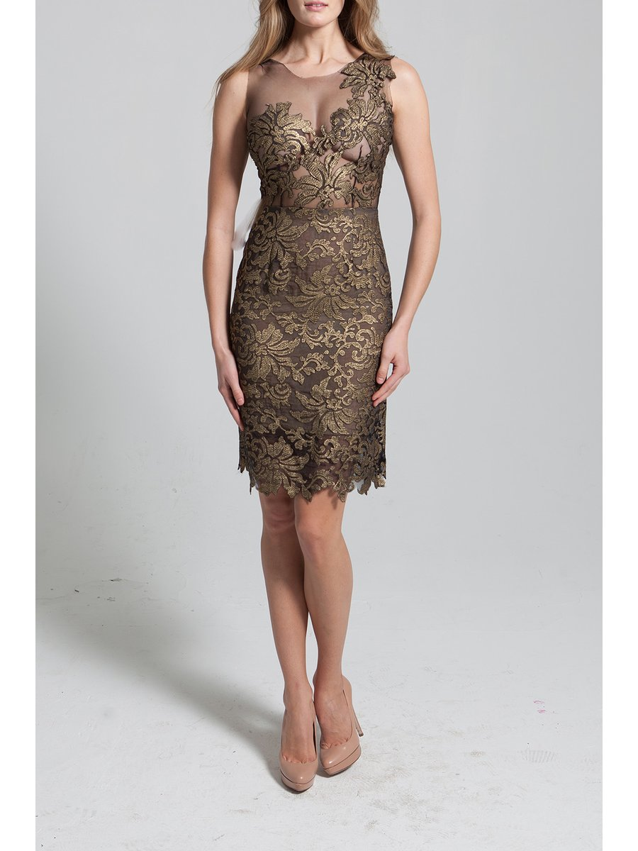 Narces Gold Lace Sheer Dress
