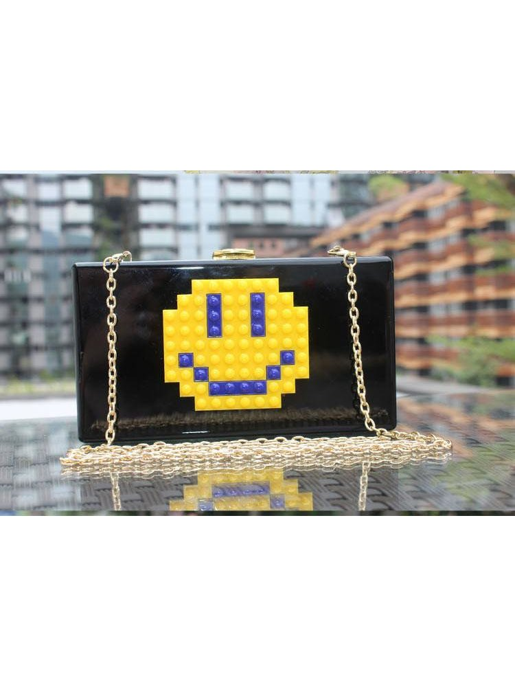 Milanblocks Smile Emoji Lego Acrylic Box Evening Clutch