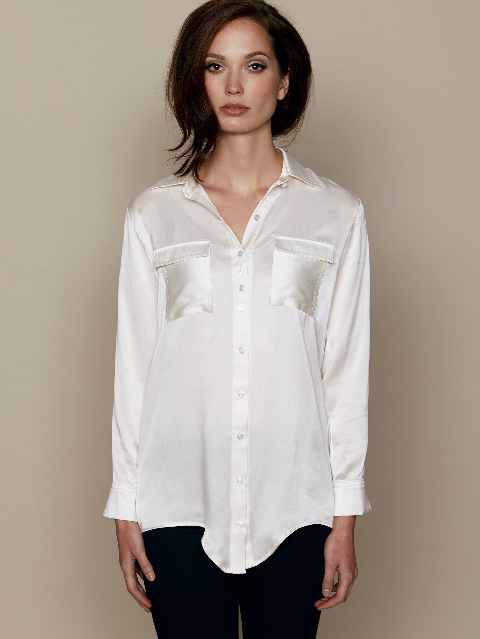 Hilary MacMillan Black Boyfriend Blouse