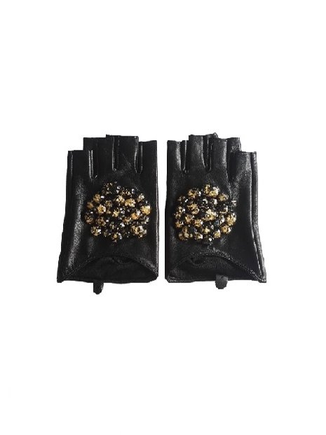 Kari C.  Embellished leather gloves