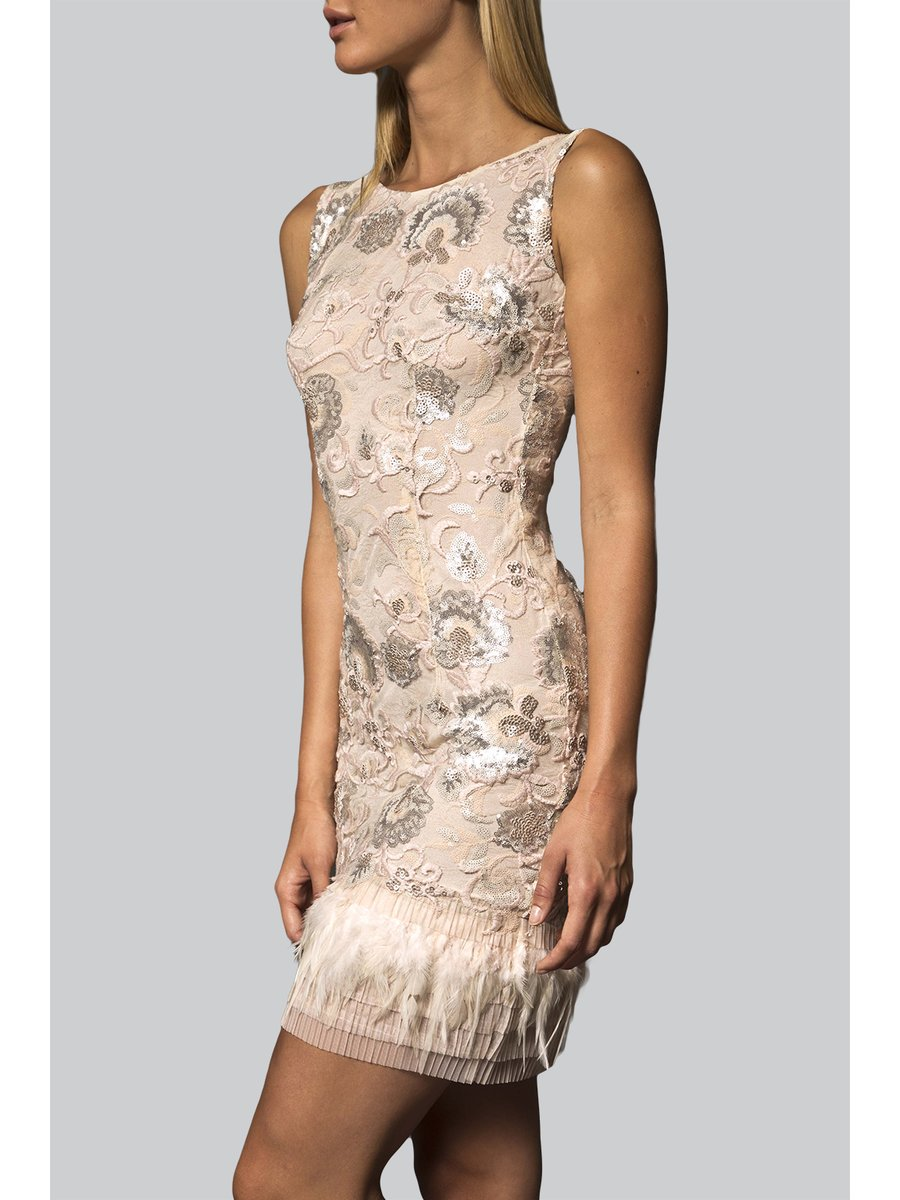 Narces Feather Sequin Cocktail Dress