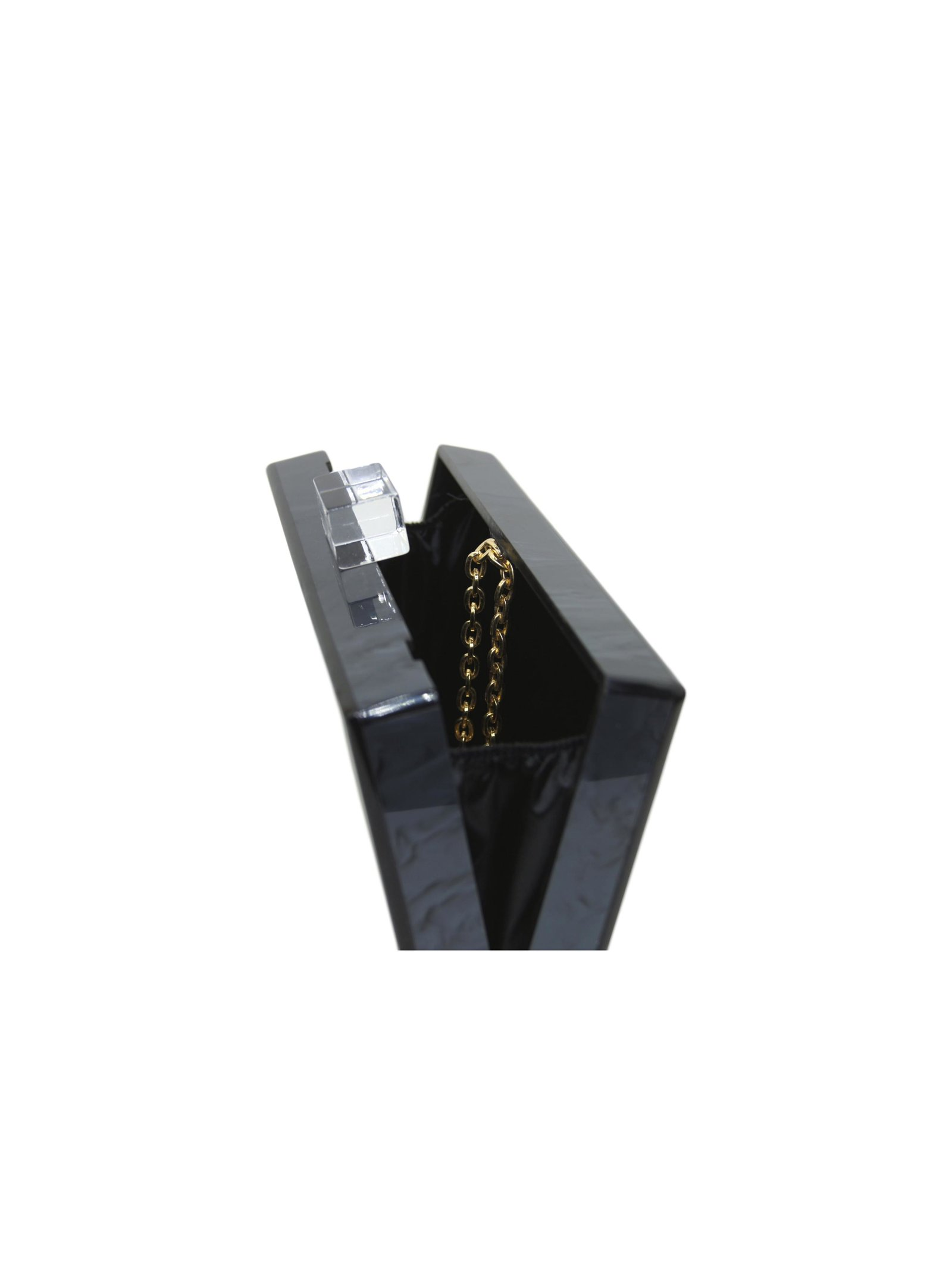 Milanblocks Metallic Charcoal Acrylic Box Clutch