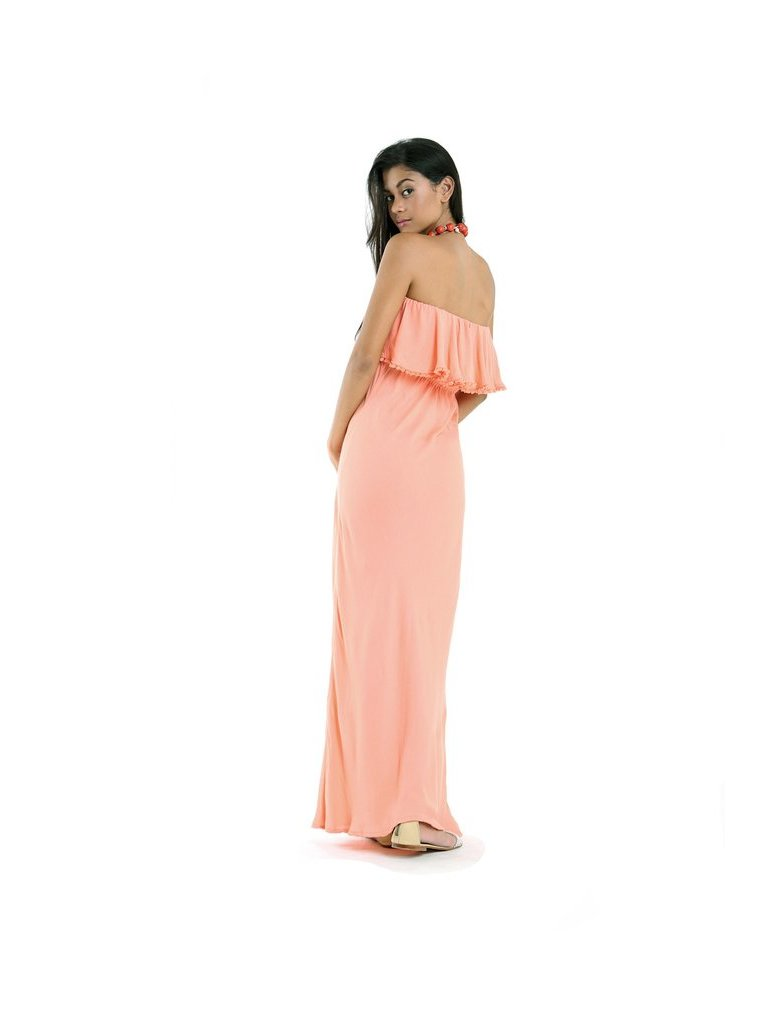 Tulle & Batiste Lulu Off The Shoulder Dress Peach