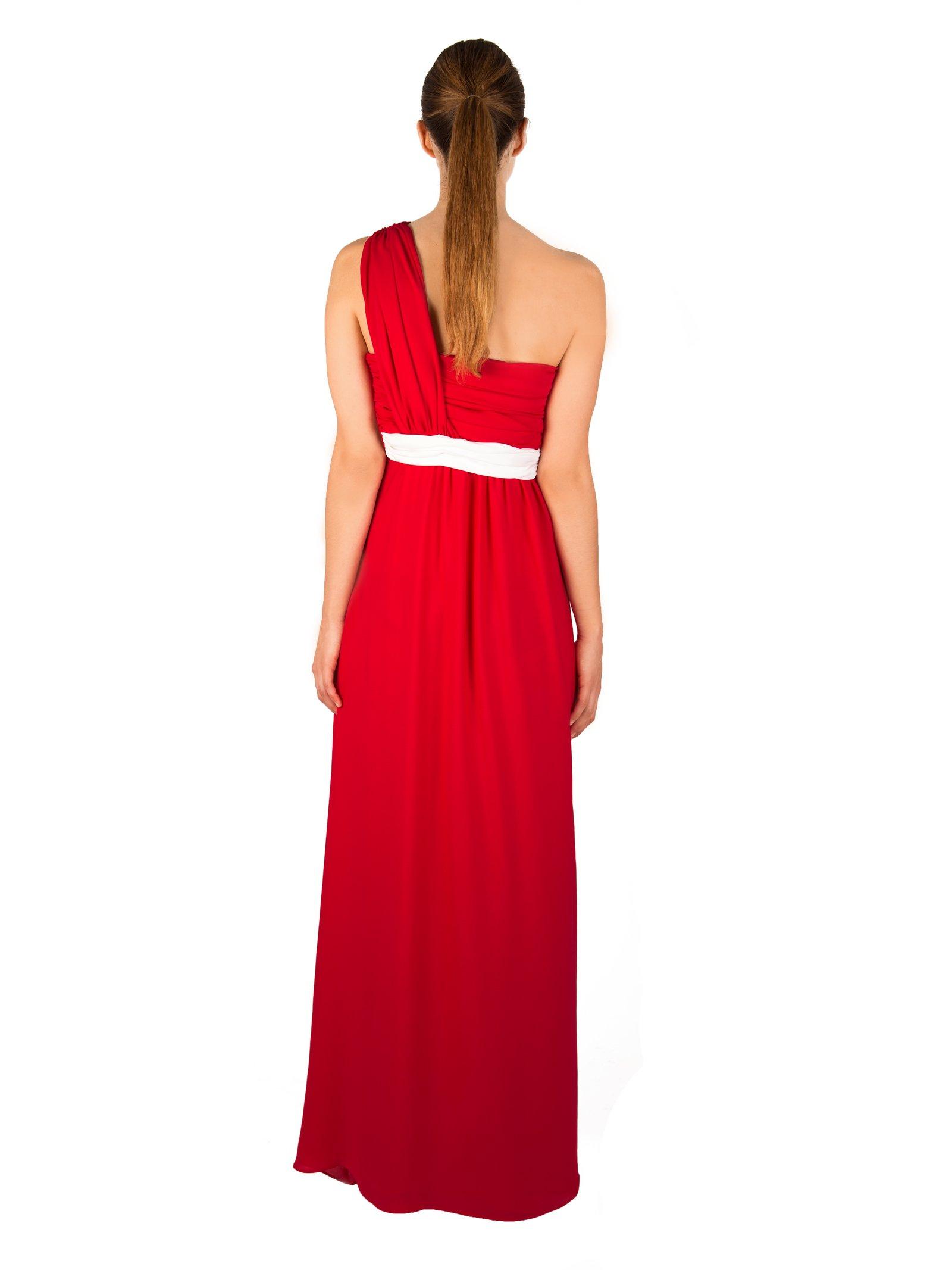 LIZA VETA Rubin Red Pleated Silk Double Georgette Dress