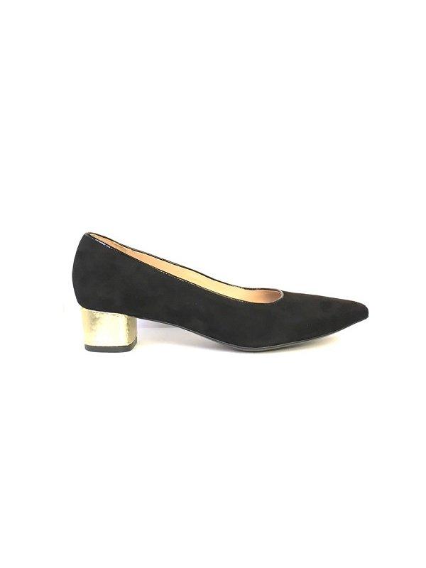 Kari C. Becca Black Suede Gold Heel Pump