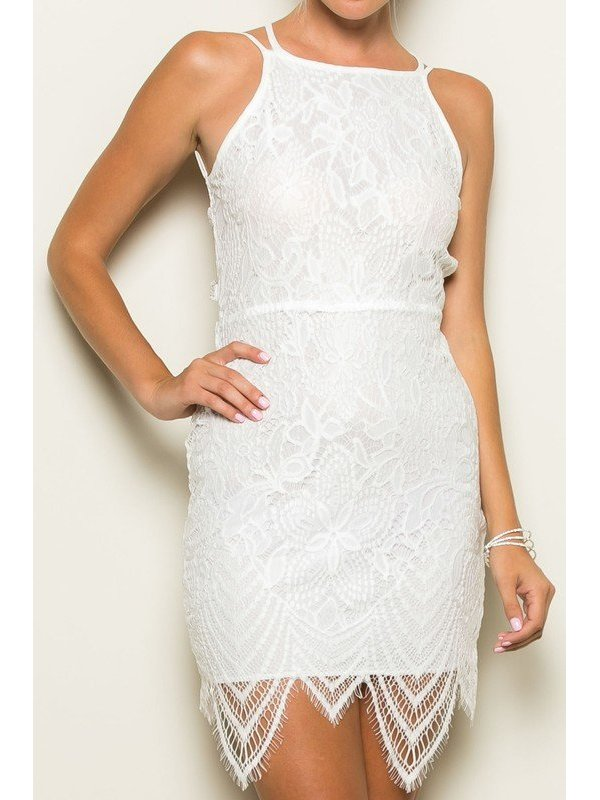 Arcade Attire Tie Back Lace Dress - White