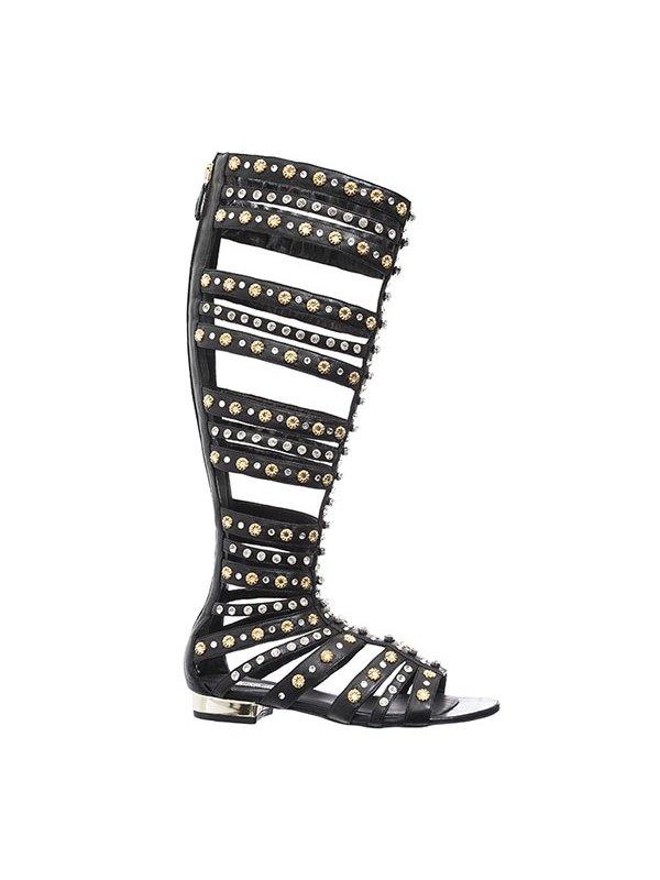 Kari C. Athena Knee-High Crystal Embellished Gladiator Sandals
