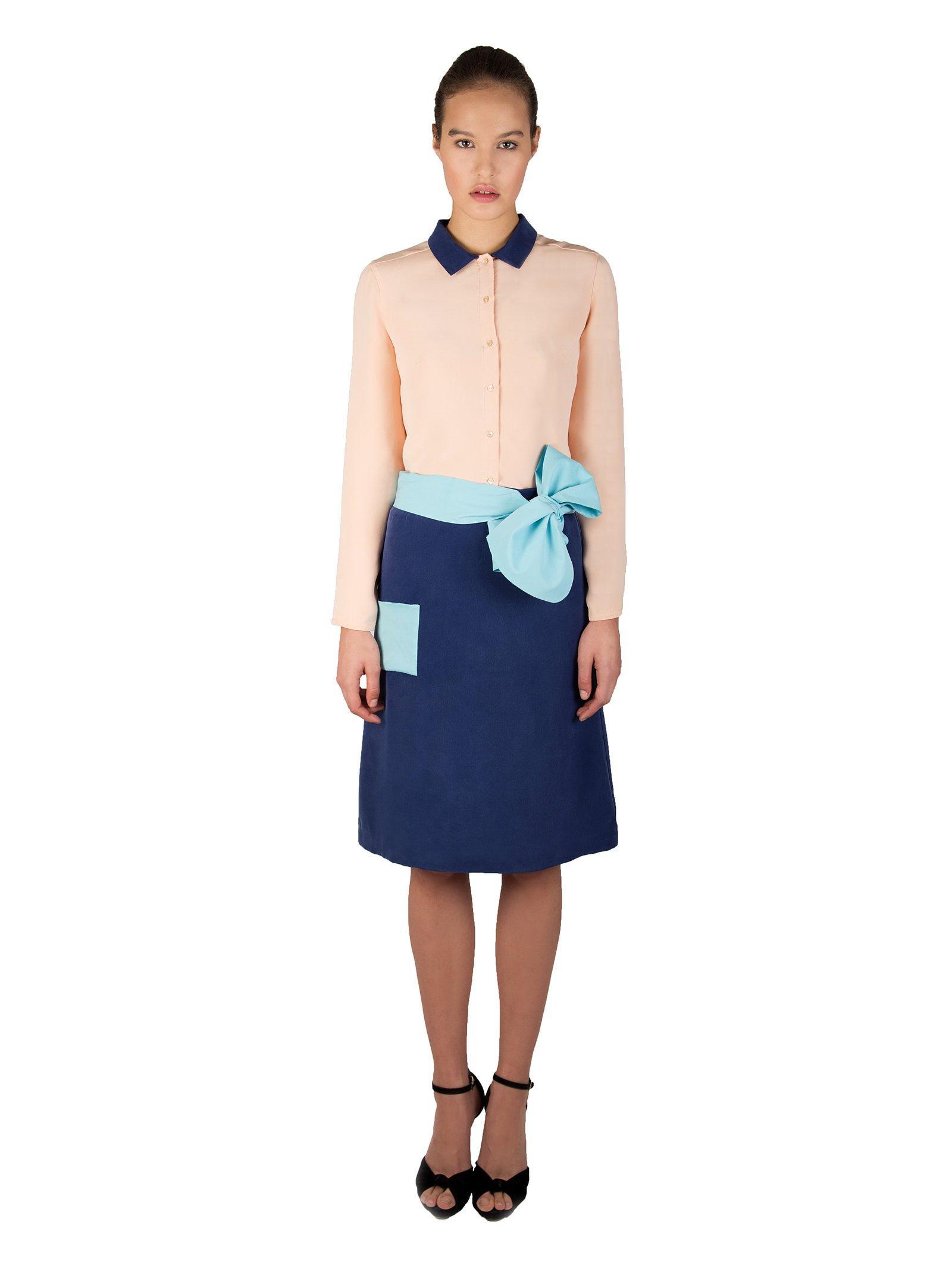 LIZA VETA A-Line Silk Sandwashed Skirt