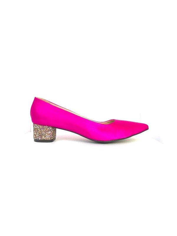 Kari C. Becca Fuchsia Silk Satin Glitter Heel