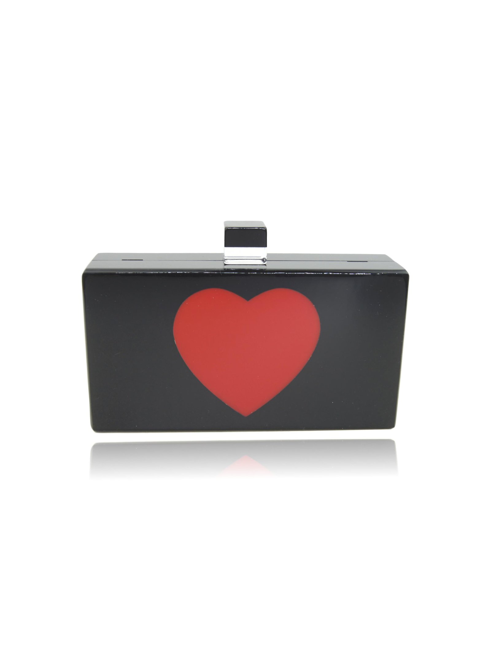 Milanblocks Black Heart Acrylic Clutch