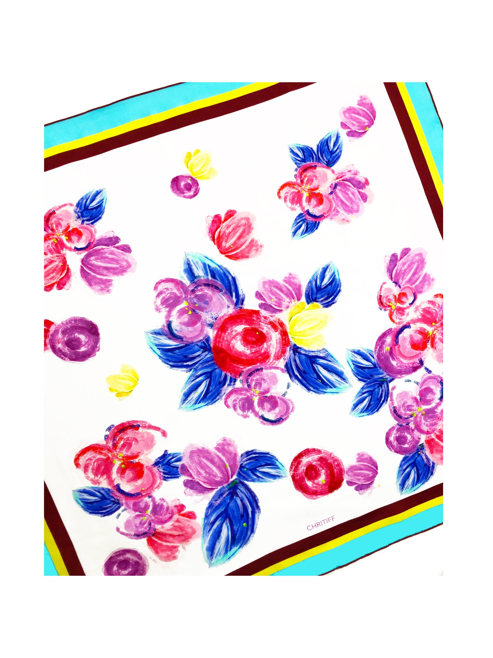 CHRITIFF Cherry Blossom Scarf (Multicolour) 70cm